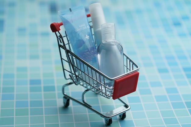 Votre panier d'achat doit contenir des articles de désinfectant pour les mains, de virus corona ou de protection covid-19.