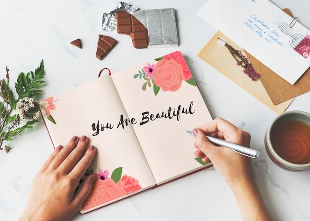 Vous êtes beau, amour, lettre, message, mots, graphique