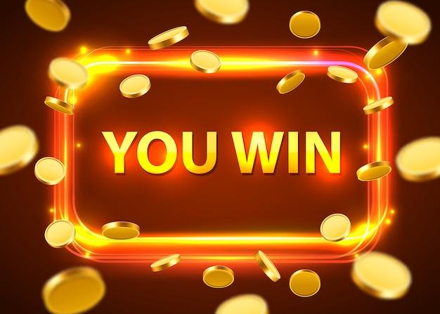 Vous gagnez. bannière rétro brillante avec des pièces volantes. concept de casino.