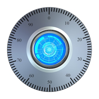 Voûte métallique de rendu 3d avec numéro de cadran et échelle
