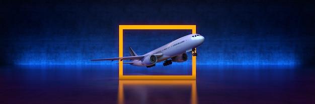 Voyage en avion avec cadre jaune sur fond noir rendu 3d