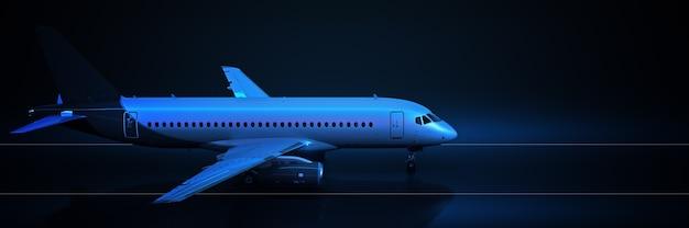 Voyage en avion sur fond noir rendu 3d