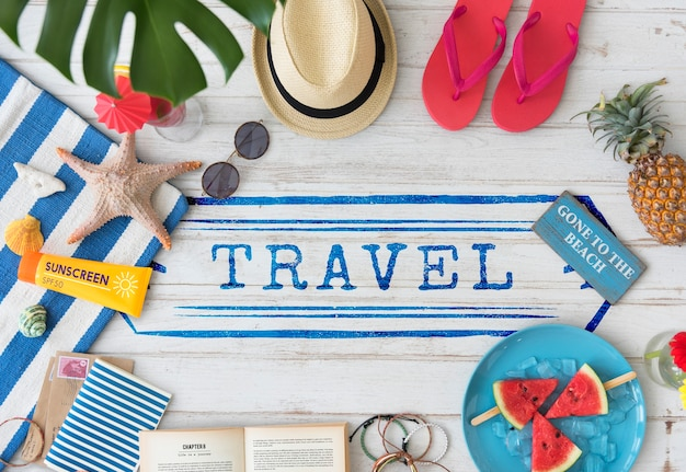 Voyage destination explorer vacances concept graphique