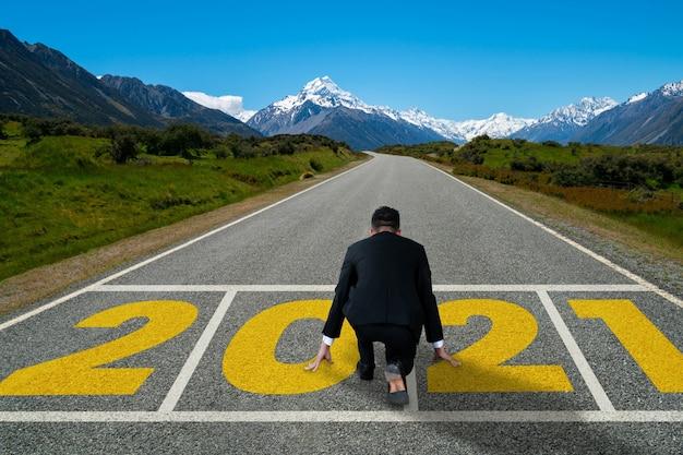 Le voyage du nouvel an 2021 et le concept de vision future.