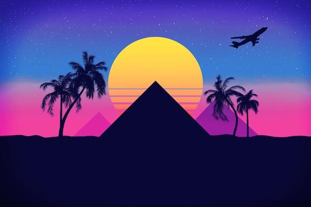 Voyage en egypte concept. paysage de style synthwave des années 80 avec pyramides, palmiers, soleil et avion en gros plan extrême. rendu 3d