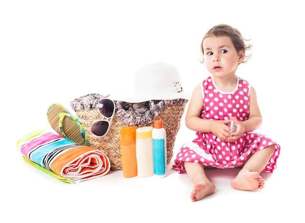 Voyage d'été avec les enfants - accessoires pour vocations et petite fille