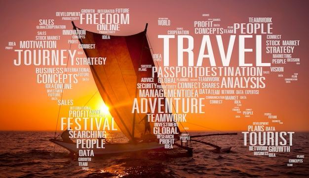 Voyage explorez le concept d'aventure de voyage de destination mondiale