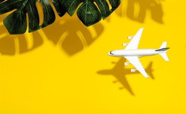 Voyage fond minimal. maquette d'avion en vol sur un fond de couleur vide avec des ombres de feuilles tropicales. espace copie