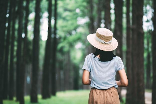 Voyage d'hiver se détendre concept de vacances, jeune voyageur heureux femme asiatique visites dans la forêt de pins à suan son bo kaeo park, chiang mai, thaïlande