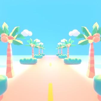 Voyage de route d'île tropicale d'été de dessin animé et image de rendu 3d de ciel bleu