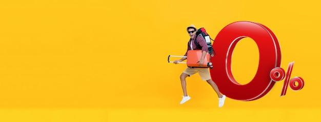 Voyage touristique excité avec plan de paiement à 0% d'intérêt