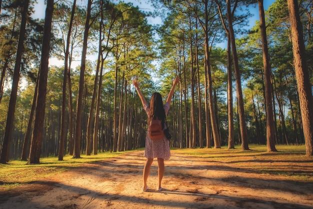 Voyageur au lever du soleil dans la station de recherche sylvicole de boa keaw