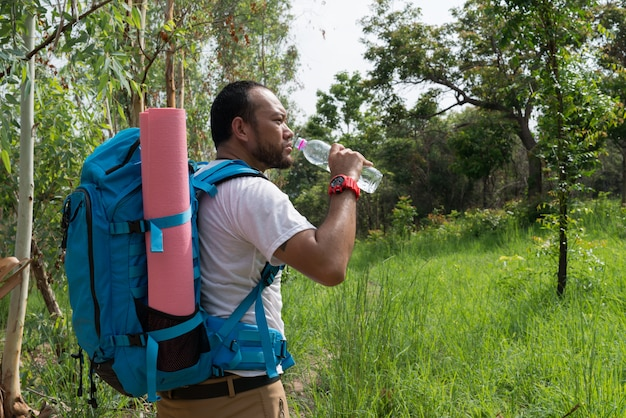 Voyageur avec sac à dos marchant dans un paysage de forêt en plein air. voyage, aventure