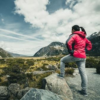 Voyageur voyageant dans un paysage sauvage