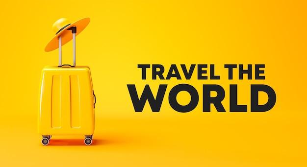 Voyagez la conception de bannière d'affiche de campagne du monde bagages et chapeau jaunes rendu 3d