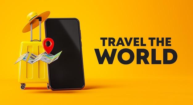 Voyagez le monde campagne affiche bannière design bagage jaune, téléphone et chapeau rendu 3d