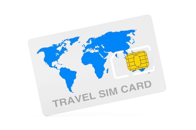 Voyagez la puce de carte sim de téléphone portable avec la carte du monde sur un fond blanc. rendu 3d