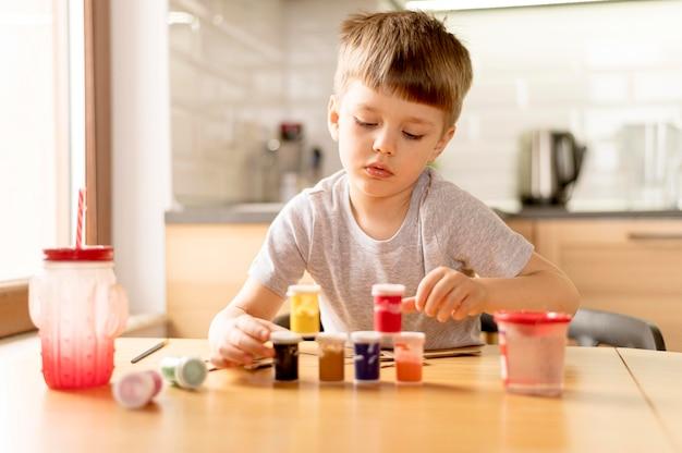 Voyante, coup, enfant, peinture