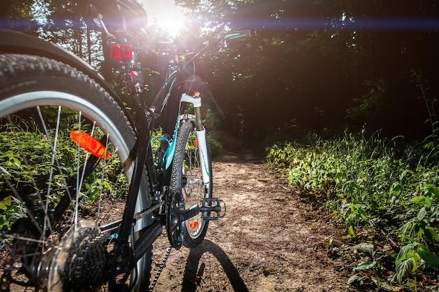 Vtt en descendant la colline descendant rapidement à vélo. vue des yeux de motards.