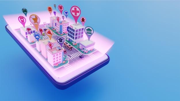 Vue 3d du smartphone connecté au paysage urbain avec une application de service de localisation différente pour le concept de ville intelligente.
