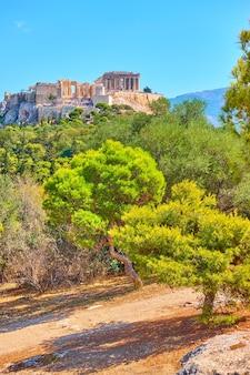 Vue de l'acropole et du parc public sur la colline des nymphes à athènes, grèce - paysage grec