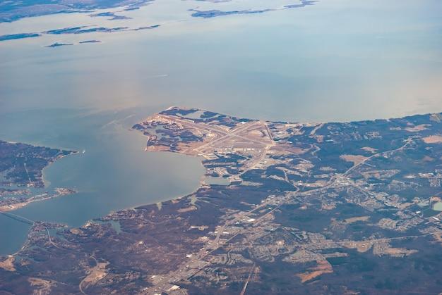 Vue aérienne de la base aérienne navale de la rivière patuxent, maryland
