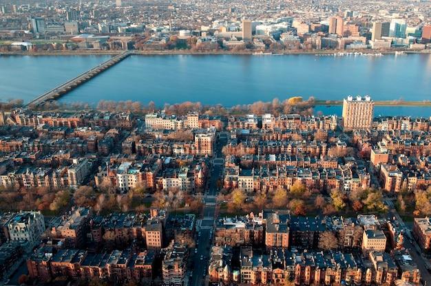Vue aérienne, de, boston, massachusetts, usa