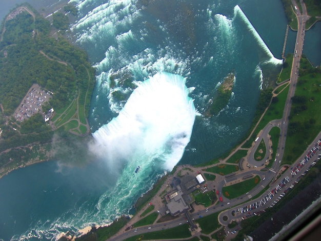 Vue aérienne de la cascade de niagara depuis le canada