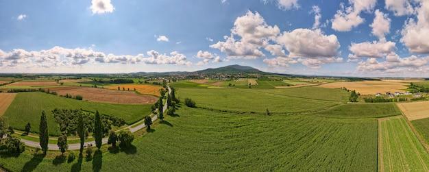 Vue aérienne des champs agricoles et verts à la campagne. paysage naturel en journée d'été, panorama