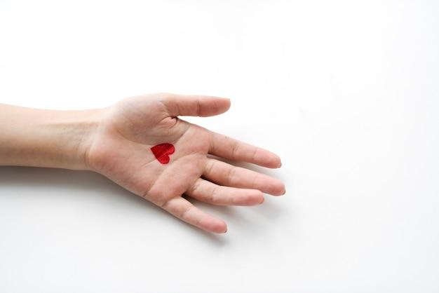 Vue aérienne, de, coeur, dessin main sur, blanc, fond