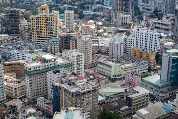 Vue aérienne de dar es salaam, capitale de la tanzanie en afrique
