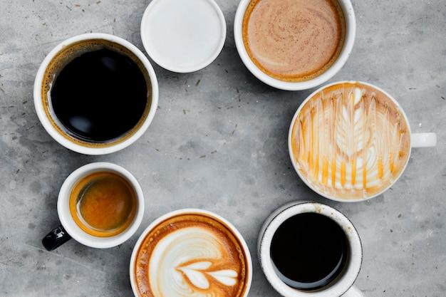Vue aérienne de divers café