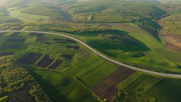 Vue aérienne de drone survolant la forêt et la route asphaltée au coucher du soleil à la lumière douce