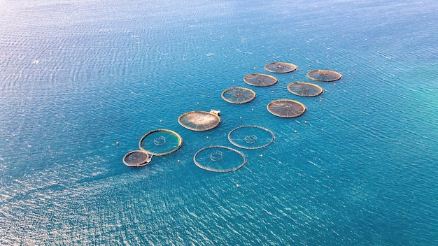 Vue aérienne de drones des fermes piscicoles zakynthos, grèce