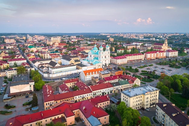 Vue aérienne du centre historique de hrodna, biélorussie