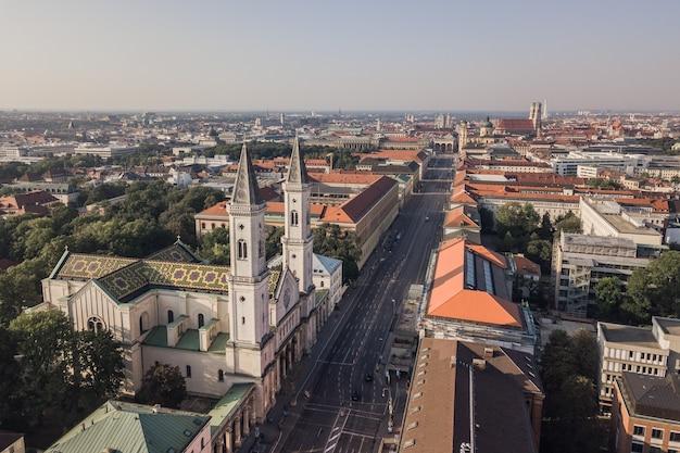 Vue aérienne du centre-ville de munich