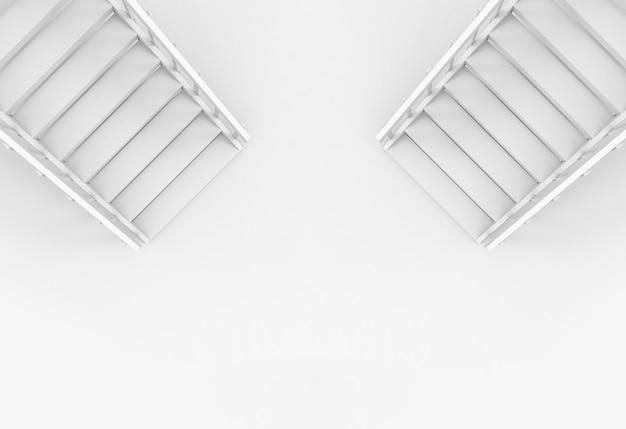 Vue aérienne du fond de deux escaliers de manière différente.