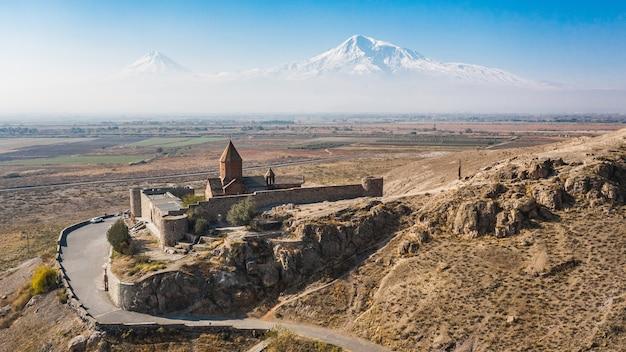Vue aérienne du monastère de khor virap en arménie