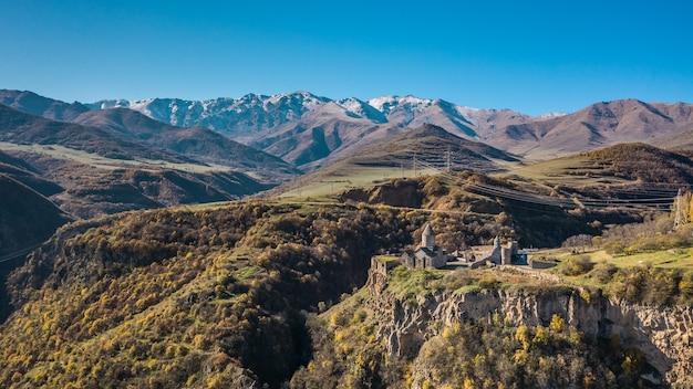 Vue aérienne du monastère de tatev en arménie