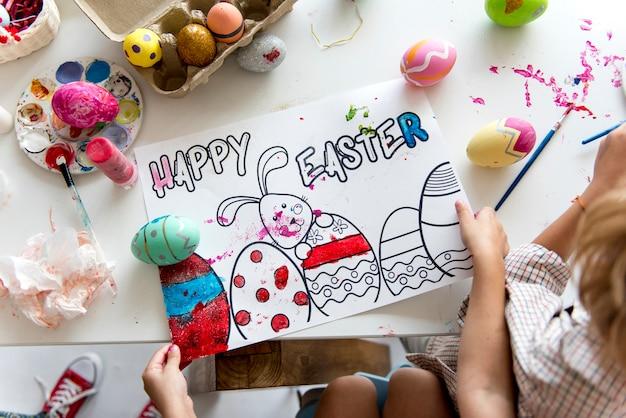 Vue aérienne du papier de peinture de vacances de pâques