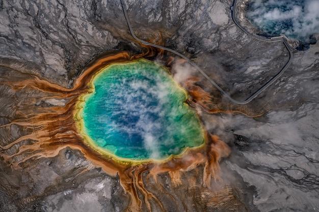 Vue aérienne du parc national de yellowstone