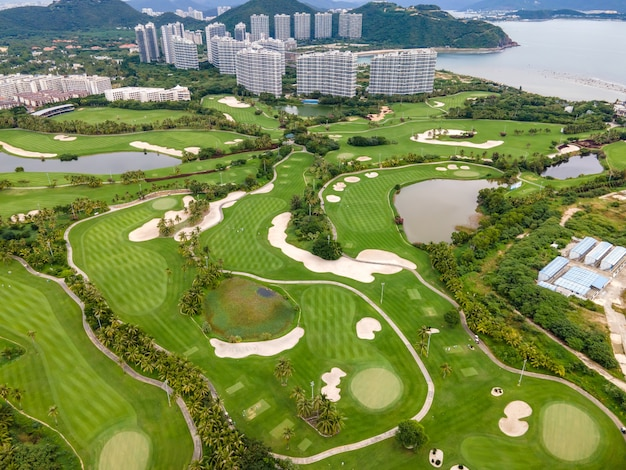 Vue aérienne du parcours de golf