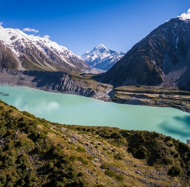 Vue aérienne du paysage du mt cook, nouvelle-zélande