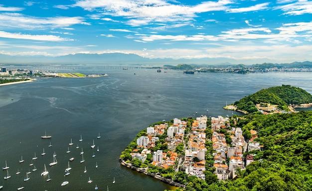Vue aérienne du quartier urca à rio de janeiro