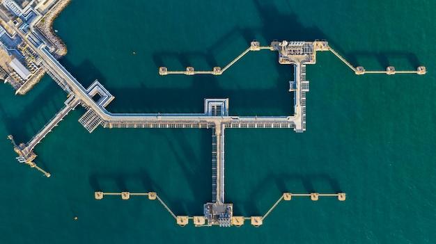 Vue aérienne du terminal de pétrole brut, raffinerie de bras de chargement pour raffinage du pétrole et du gaz dans un port commercial.