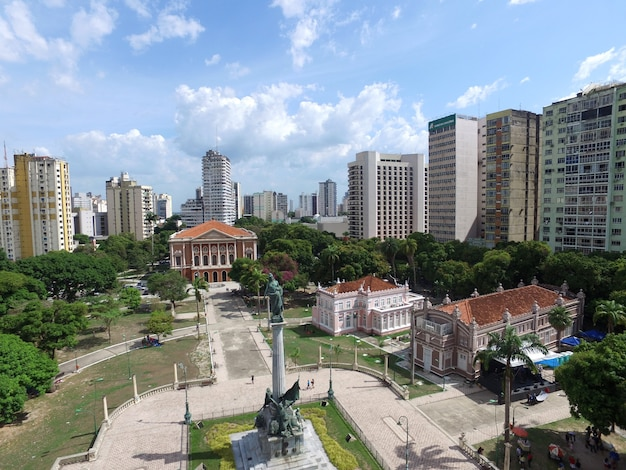Vue aérienne du théâtre paz à belem do para, brésil