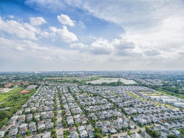Vue aérienne du village natal à bangkok thaïlande