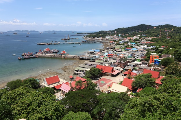 Vue aérienne du village de pêcheur