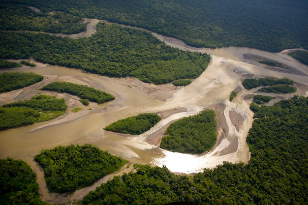 Vue aérienne sur la forêt amazonienne