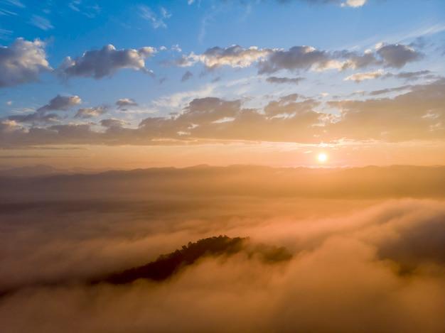 Vue aérienne de la forêt dans le brouillard du matin, respirer les montagnes, soleil sur la brume matinale